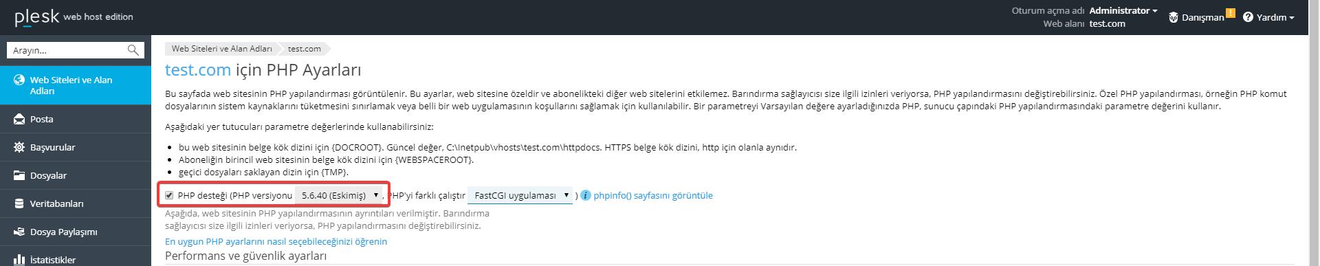 plesk php ayarı seçme
