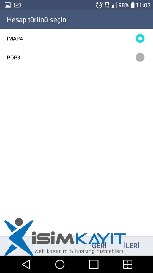 android mail imap kurulumu
