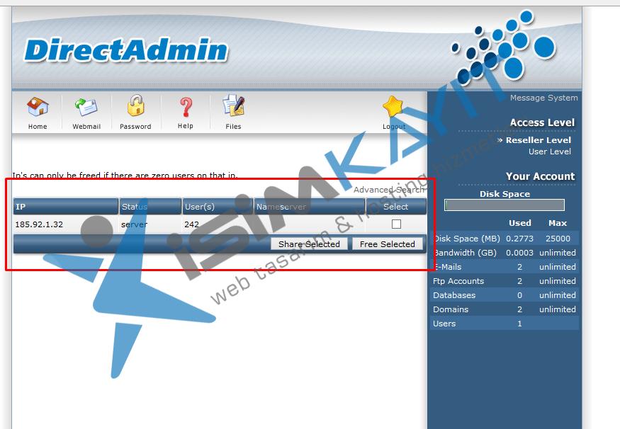 Directadmin bayi hosting IP yönetimi