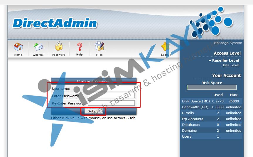 Directadmin kullanıcı şifre değiştirme