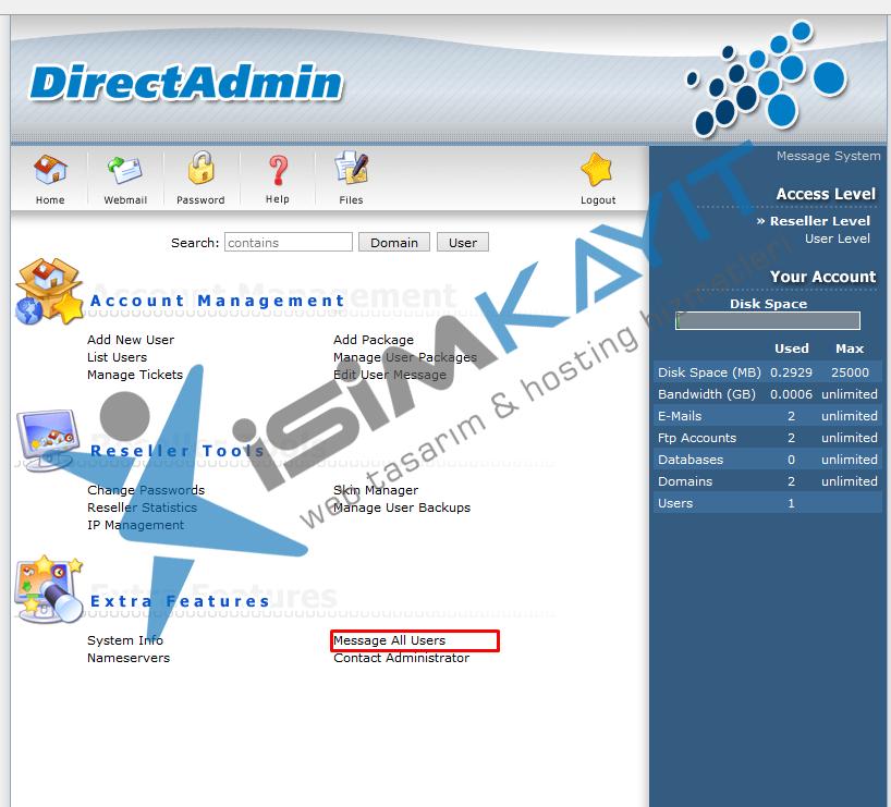 Directadmin bayi hosting üzerinden kullanıcılara mail gönderme