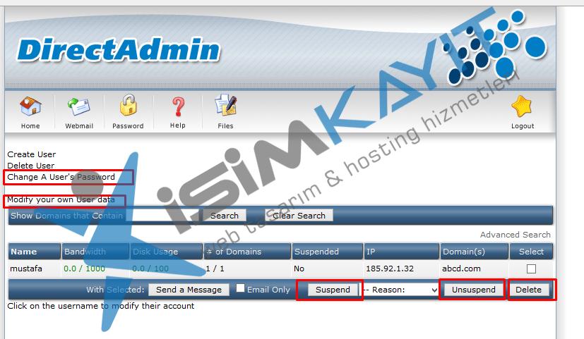Directadmin bayi hosting kullanıcı ekleme ve listeleme
