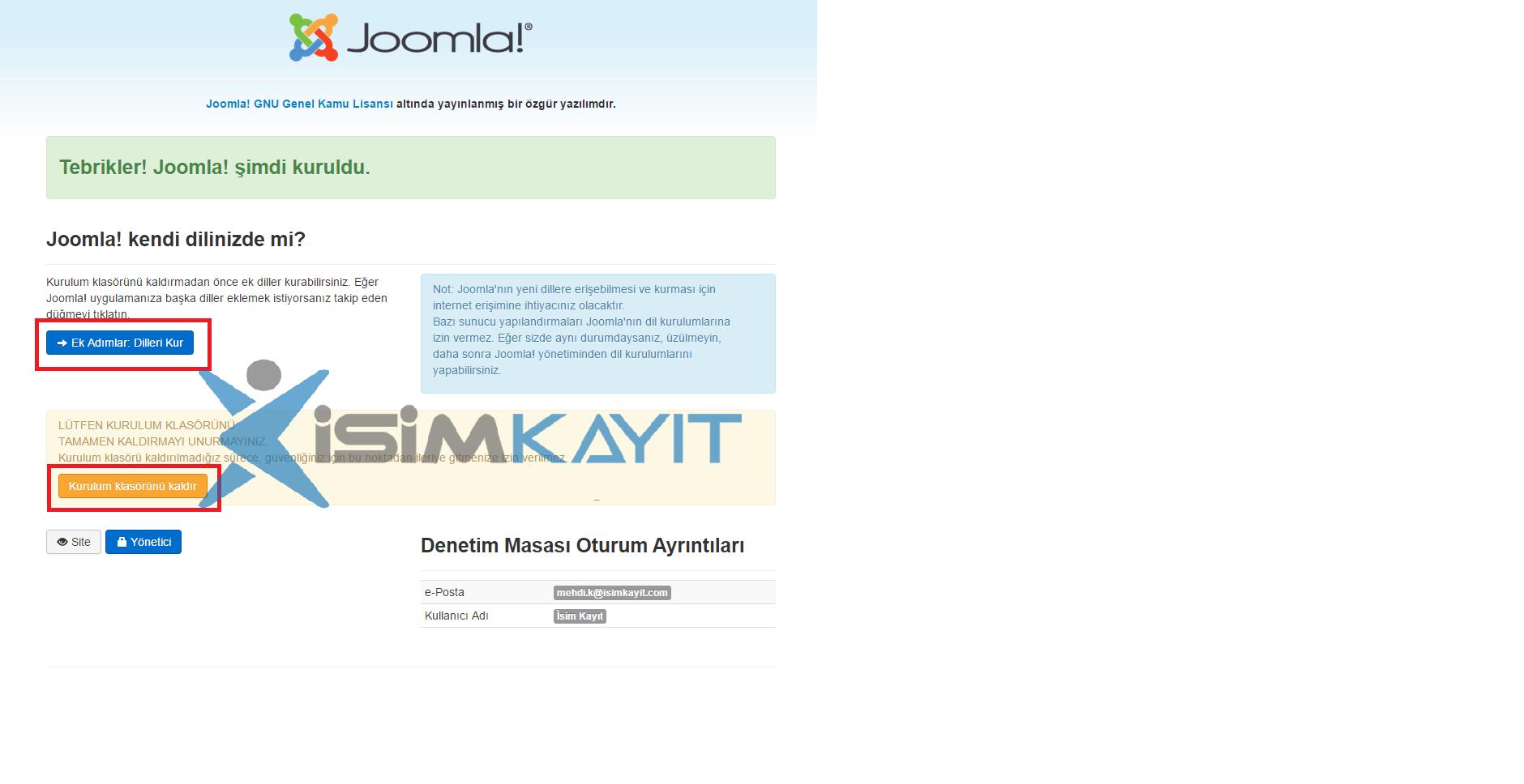 joomla e-ticaret yazılım kurulumu veritabanı