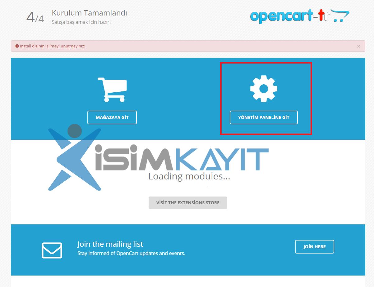 Opencasrt E ticasret yazılım kurulumu admin