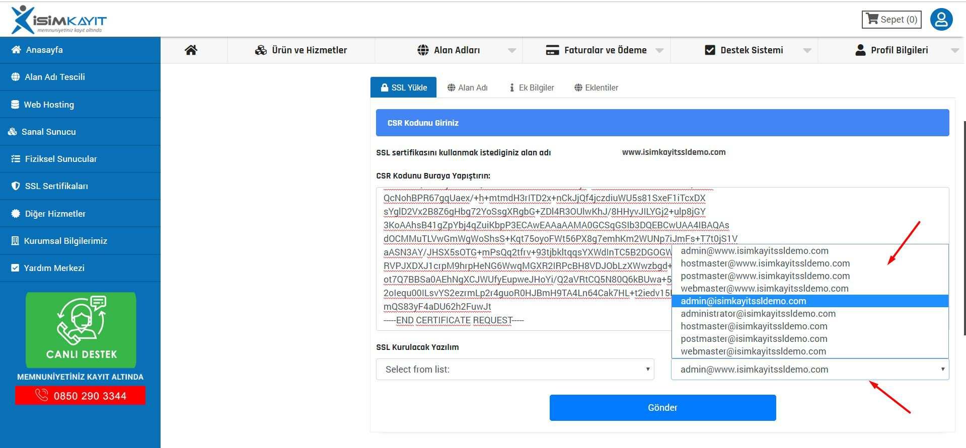 SSL Sertifika ürün yönetimi