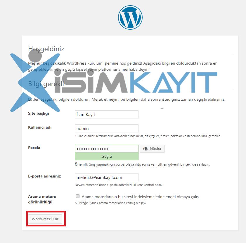 wordpress kurulum admin bilgileri