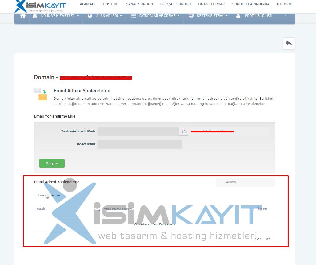 Hosting Hesabı olmadan Email Yönlendirme